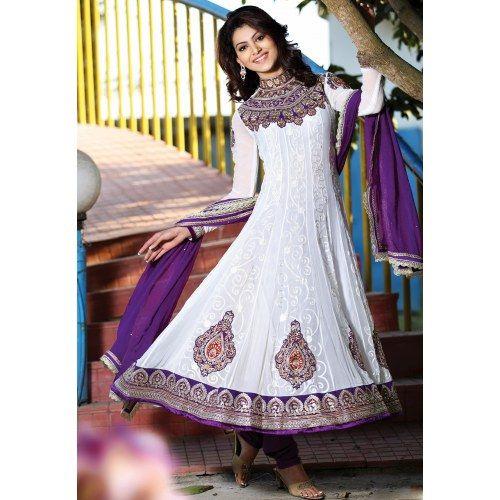 Indian Designer Ethnic wear Gorgeous Look Stunning White & Purple Anarkali Salwar Suit - Online Shopping for Salwar Suit by Manjulata Creations