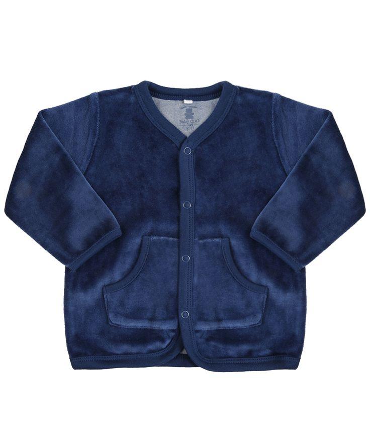 Cardigan em Plush de Algodão + Sustentável Azul Marinho - cea