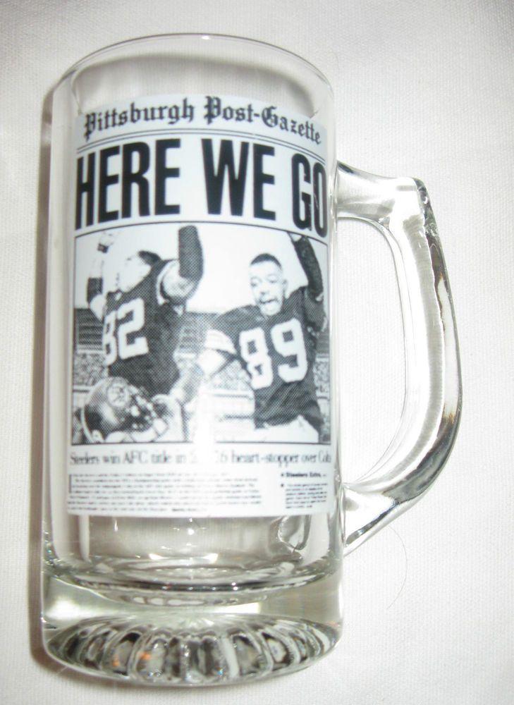 PITTSBURGH STEELERS 1996 AFC Champs Post Gazette Bar Mug Glass RARE MAN CAVE #PittsburghSteelers