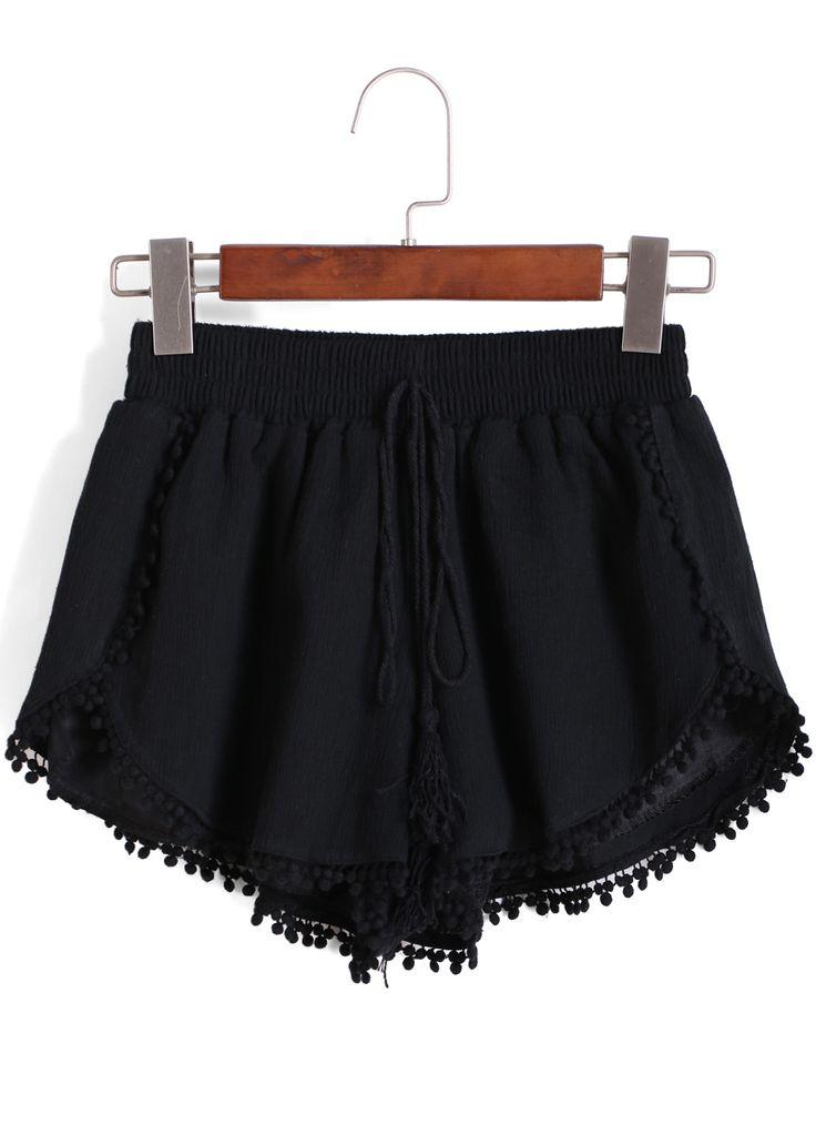 Pantalón corto cintura elástica trims -negro-Spanish SheIn