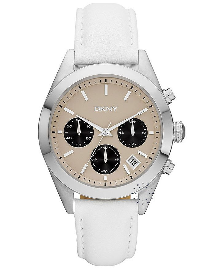 DKNY Chronograph White Leather Strap Η τιμή μας: 168€ http://www.oroloi.gr/product_info.php?products_id=33522