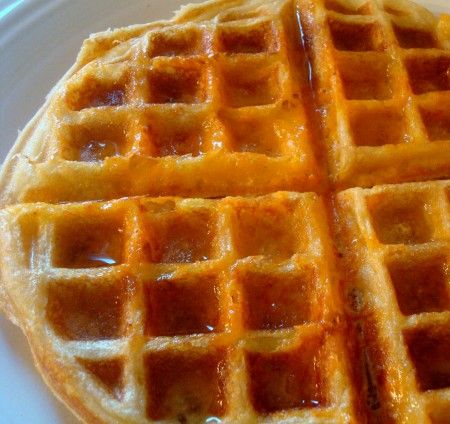 Buttermilk waffles; these babies make an appearance several times a month; usually for dinner. Try them w/ cheese like recipe states, it's actually very tasty.