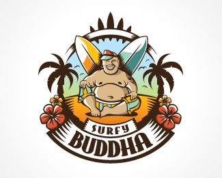 Surfy Buddha Logo Design This Funny Brand Is Suitable