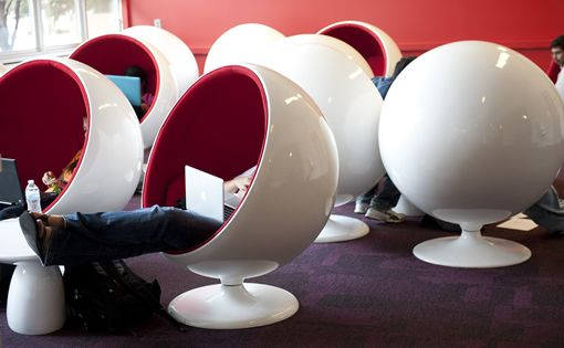 "NCSU libraries - Privacy. A group of retro ""ball chairs"" provides a way to squeeze more useful, comfortable seating into current spaces. The ball chairs were originally designed in 1963 and quickly earned a reputation for being incredibly tough and innovative. The ball chair is designed to be a room within a room, providing a private space for the user."