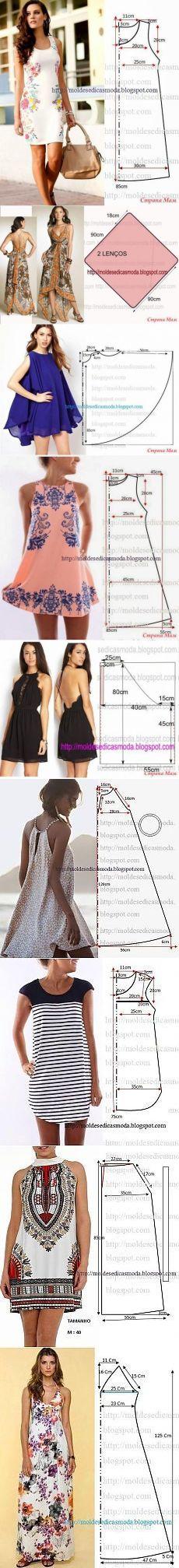 patrón simple moda vestidos de verano.