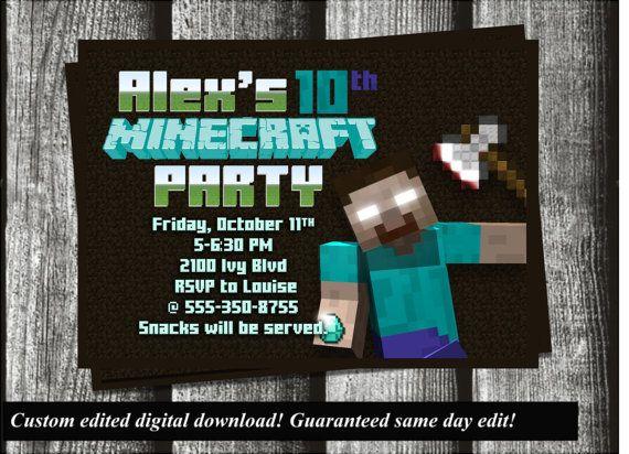 Minecraft Herobrine Birthday Invitation Customized By Chefwives