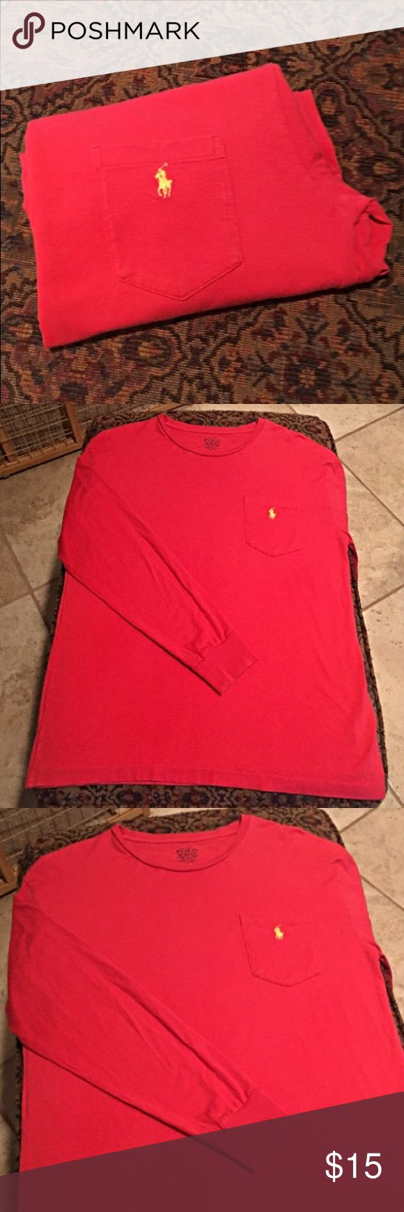 Polo Ralph Lauren Pocket Tee Orangish red Polo long sleeve tee with pocket on the breast. Yellow Polo horse embroidered on pocket. 100% cotton. Worn once, if at all. Polo by Ralph Lauren Shirts Tees - Long Sleeve