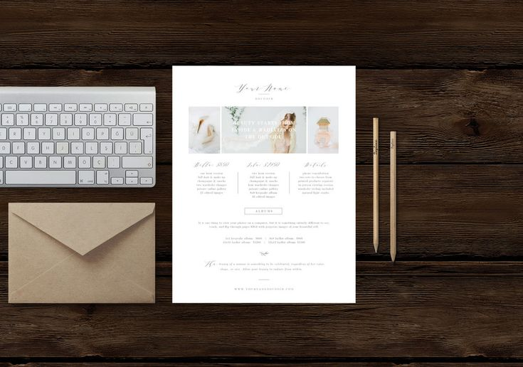 Boutique fine-art photography marketing templates. Boudoir photographer pricing guide template | investment sheet for photographers