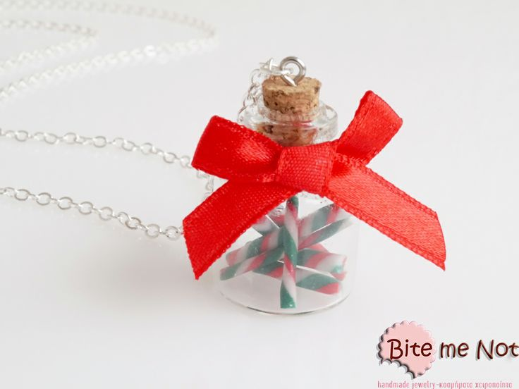''Glass bottle with christmas candies'' -Silver plated long chain necklace!  -Glass bottle with cork filled with christmas candies!