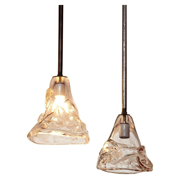 Industrial Hanging Pendant Lights With Hand Blown Glass