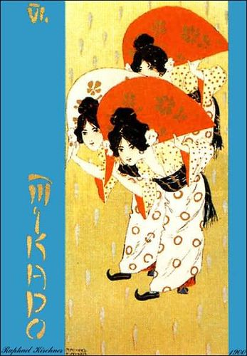 """Raphael Kirchner, poster for """"The Mikado"""", 1900.  The girls are just so cute here."""