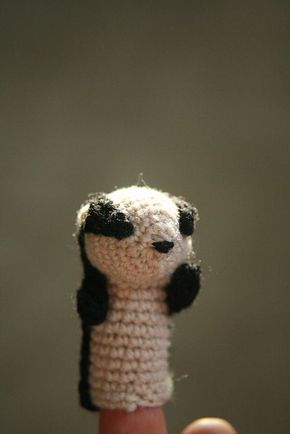 """Charlie the Badger Finger Puppet Free Pattern (PDF click""""Download"""") http://www.ravelry.com/patterns/library/charlie-the-badger-puppet"""