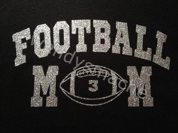 Women's Football Mom Glitter Vinyl Tshirt with custom number on front on Etsy, $16.99