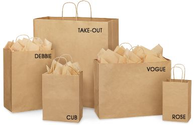 Brown Paper Gift Bags Kraft Shopping Bags in Stock