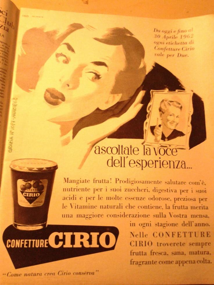 Pubblicità Cirio dal Settimanale 'Grazia' N°1097 del 25 febbraio 1962  Grazie @Brunella Giacobbe <3  #cirio #vintage #advertising #art #arte