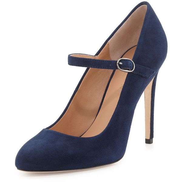 Halston Heritage Carol Suede Mary Jane Pump (£145) ❤ liked on Polyvore featuring shoes, pumps, heels, zapatos, navy, suede mary jane pumps, suede pumps, mary jane pumps, navy blue mary jane pumps and mary jane shoes