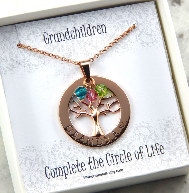 Family Tree Necklace, Personalized family tree necklace, birthstone necklace, Grandma necklace, Nanna necklace, Mothers necklace by Kikiburrabeads on Etsy