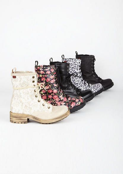 I am in LOVE with the cream lace boots that are in the fornt of the line.