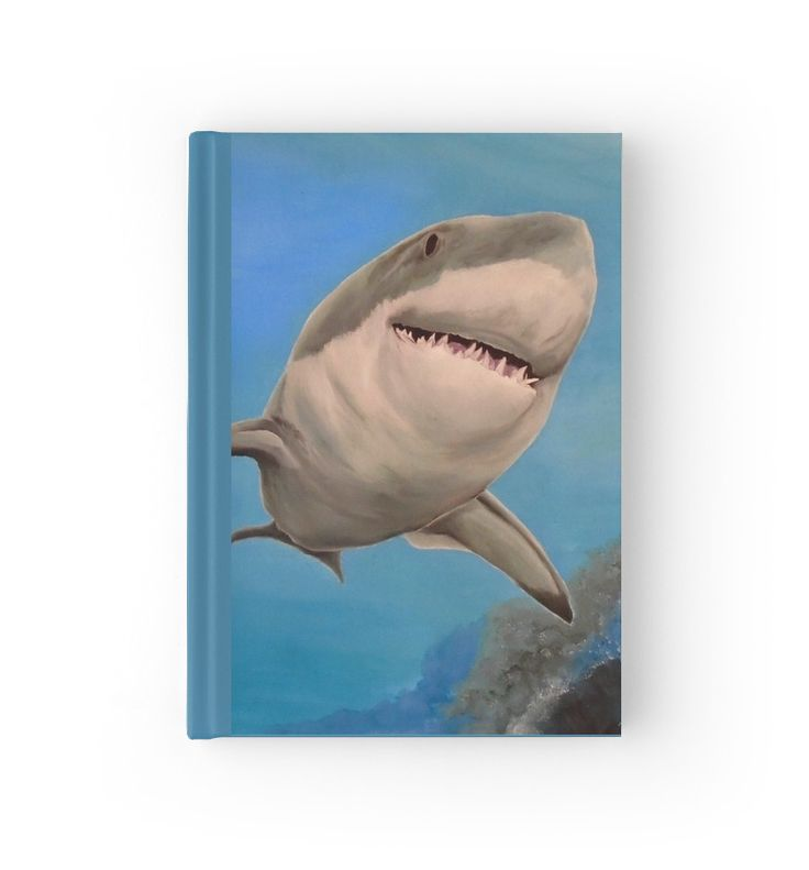 Hardcover Journal, stationery,school,supplies,cool,unique,fancy,trendy,awesome,beautiful,design,unusual,modern,artistic,for sale,items,products,office,organisation, blue,turquoise,shark,wildlife,redbubble