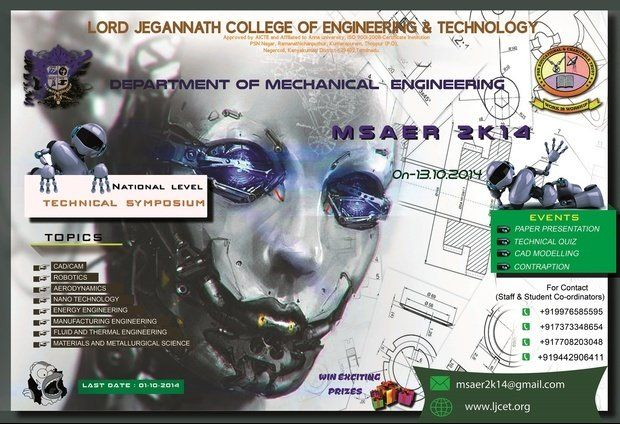 MSAER 2K14, Lord Jegannath College of Engineering and Technology Event Date:  Mon, 2014-10-13 College / Institute:  Lord Jegannath College of Engineering and Technology, Kumarapuram MSAER 2K14, Lord Jegannath College of Engineering and Technology Type of Event: College Fests - Indcareer