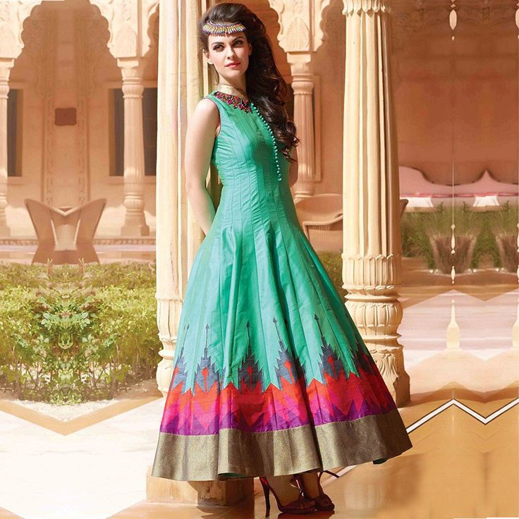 Latest Printed Sea Green Color Party Wear Designer Gown.