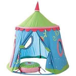 Play tent. Add a bean bag and a book basket to make a super cute reading nook!