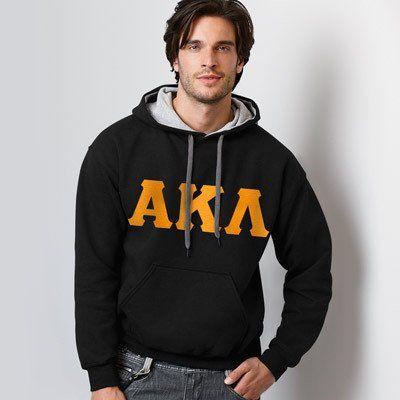 Alpha Kappa Lambda Contrast Hoody with FLOCK - Gildan 185C - TWILL