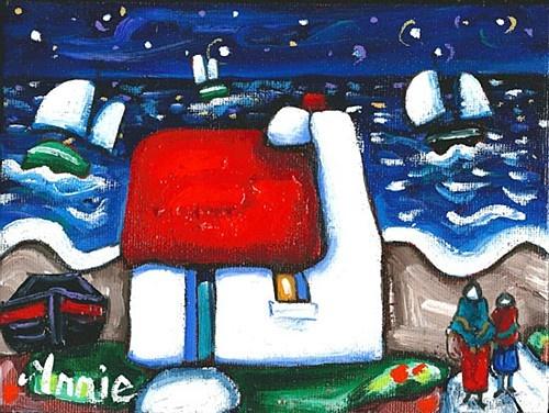 "Annie Robinson ""Sails under the Stars"" #nighttime #irishart #DukeStreetGallery"