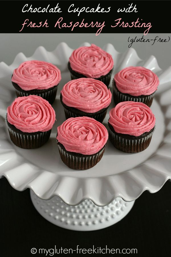 Chocolate Cupcakes with Fresh Raspberry Frosting {Gluten-free} | Intermediate | http://www.belgiumchocolategourmet.com/recipes/