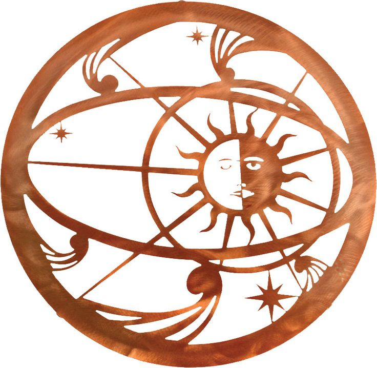"""Dimensions: 18"""" Diameter Color: Honey bronze Description: The cosmic spheres show the transition of the sun in this galactical metal wall piece Material: American Steel Mounting Brackets: Included mou"""