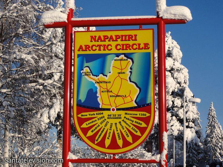 Arctic Circle sign in Santa Claus Village Rovaniemi in Lapland Finland