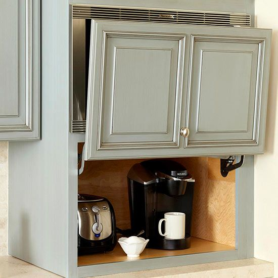 Enlist the Garage and store appliances in out of sight, yet easy to access spaces! Kitchen Storage Solutions