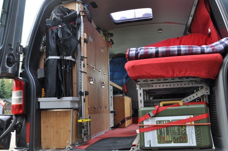 Bett aus Alu-Profilen vorne höhenverstellbar Bed  VW-T5.2 Rockton  Christian's Ausbau  MATSCH&PISTE  Idee  selber machen, bauen