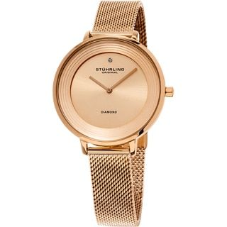 Shop for Stuhrling Original Women's Symphony Quartz Diamond Rose Tone Mesh Band Watch and more for everyday discount prices at Overstock.com - Your Online Watches Store!