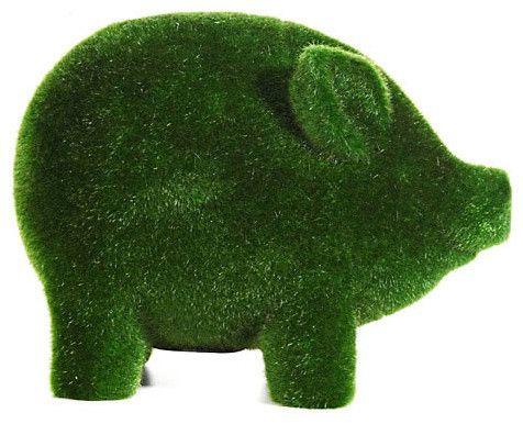 Grass Flocked Piggy Bank eclectic kids toys