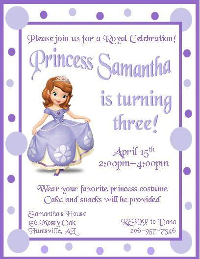 7 Best Birthday Invitations Images On Pinterest Princess Sofia