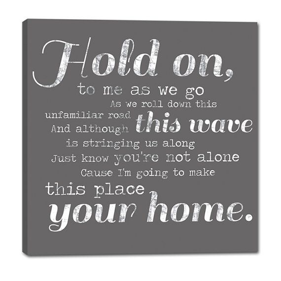 Phillip Phillips – Hold On - Music Lyric Art Canvas – home decor, wall decor, living room, bedroom decor, wall art, wedding sign, gift idea