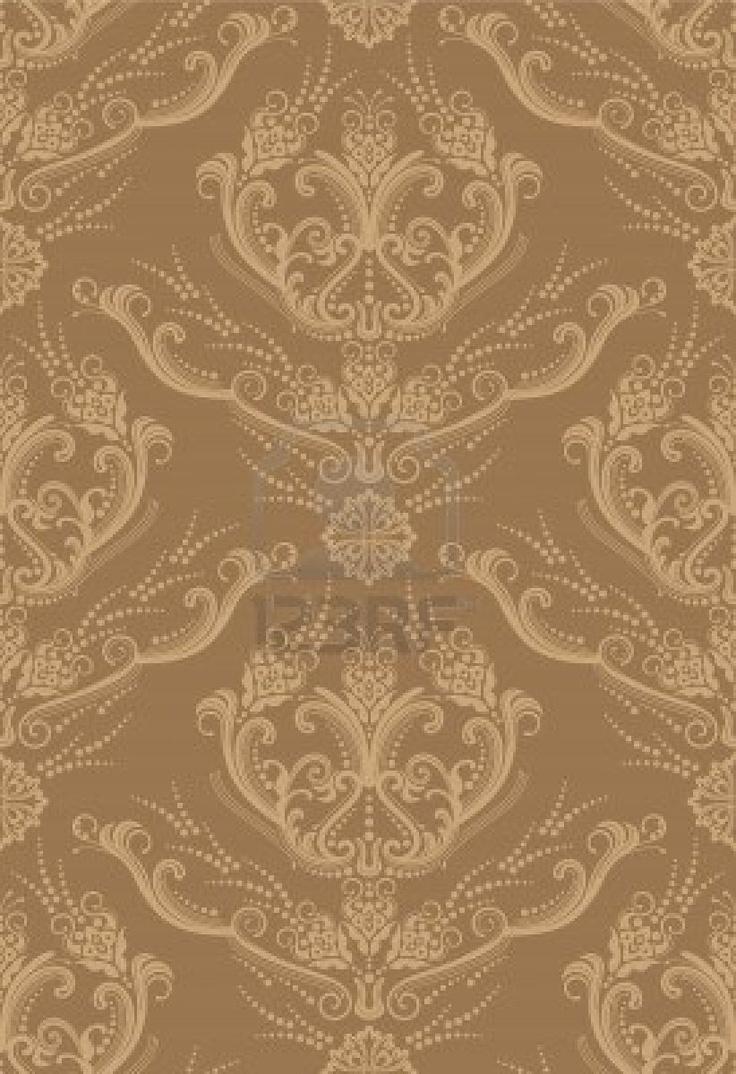 Luxe bruine bloemen wall paper  Stockfoto