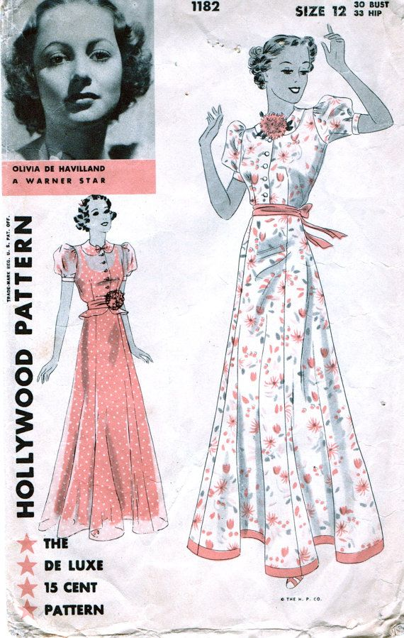 Vintage HOLLYWOOD Movie STAR Pattern 1182 - Olivia De Havilland - GLAMOROUS Evening Dress Frock with or without Tiny Flared Peplum