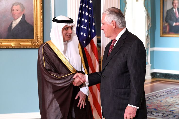 https://flic.kr/p/UqXPz4 | Secretary Tillerson Greets Saudi Foreign Minister al-Jubeir Before Their Meeting in Washington | U.S. Secretary of State Rex Tillerson greets Saudi Foreign Minister Adel al-Jubeir before their bilateral meeting at the U.S. Department of State in Washington, D.C., on May 2, 2017. [State Department photo/ Public Domain]