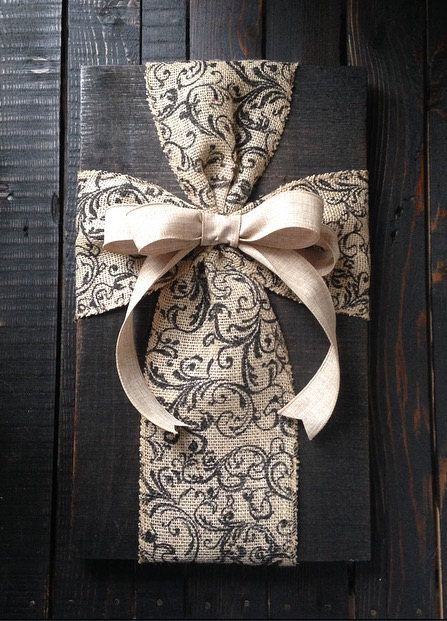 Burlap ribbon on wood sign with wire hanger, 18 tall x 11 wide Can be customized with stain or left unfinished, ribbon color of your choice. Please note which style youd like! 2-3 business day turnaround