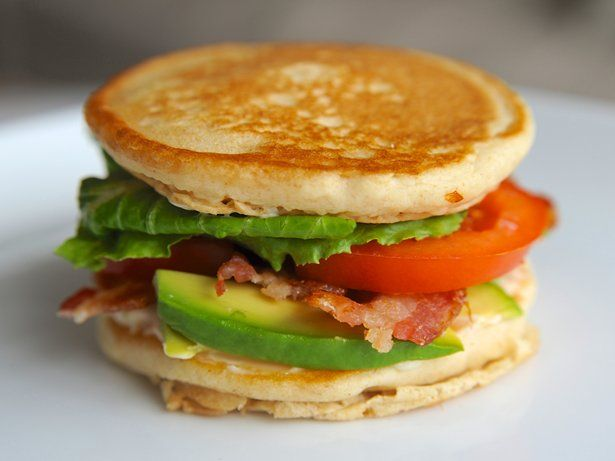California BLT Pancake Sandwich.  Definitely will give this a try, but with a twist...I don't like pancakes....but think the batter could be revved up!