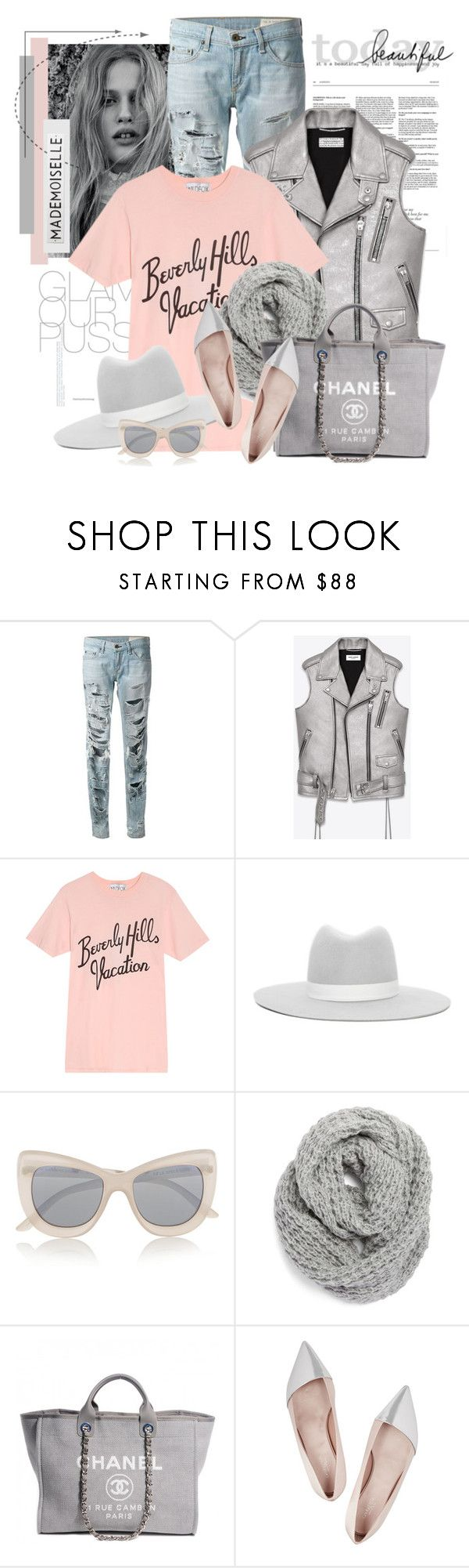 """Untitled #2440"" by bellerodrigues ❤ liked on Polyvore featuring rag & bone, Yves Saint Laurent, Wildfox, Janessa Leone, Le Specs, Halogen, Chanel, Giambattista Valli, Rosanna and women's clothing"