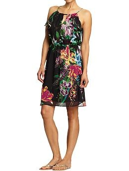 Just bought this. Super comfy and very flattering.: Woman Floral, Floral Chiffon, Women'S Floral, Cute Dresses, Navy Dress, Cute Summer Dresses, Old Navy, Chiffon Dresses, Floral Dresses