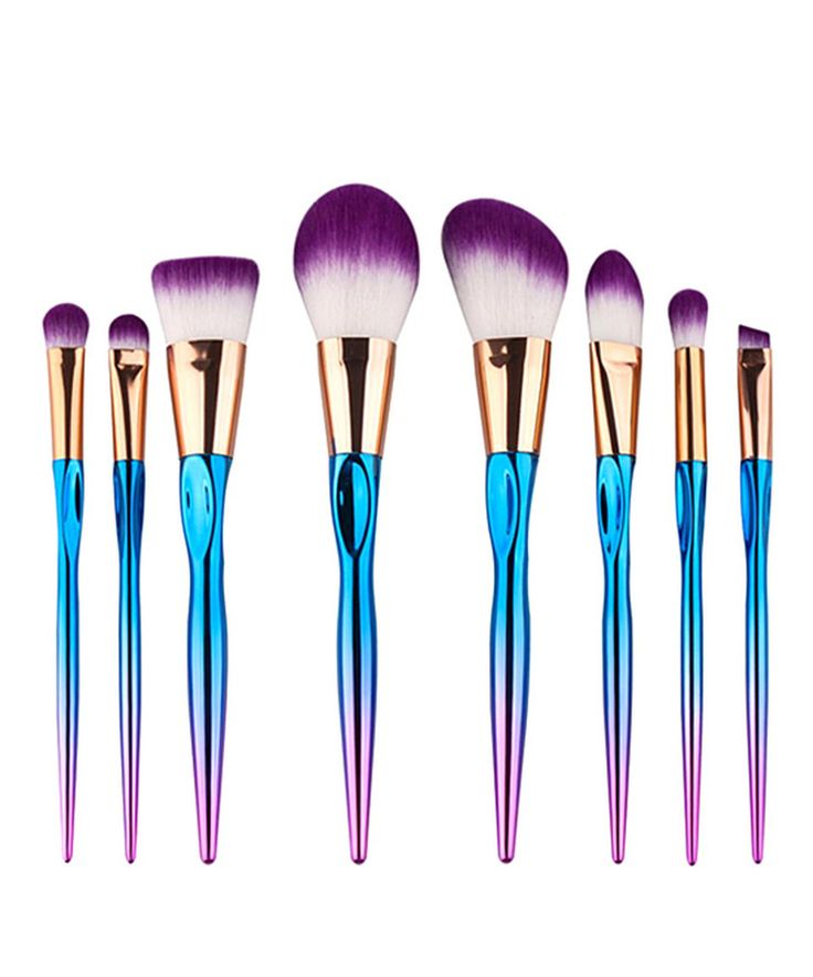 Take a look at this Blue Eight-Piece Mermaid Makeup Brush Set today!