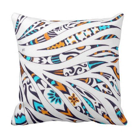 Funky Ink Whimsical Pattern Throw Pillow - #cushion #throwpillow #pillow #whimsical #homedecor
