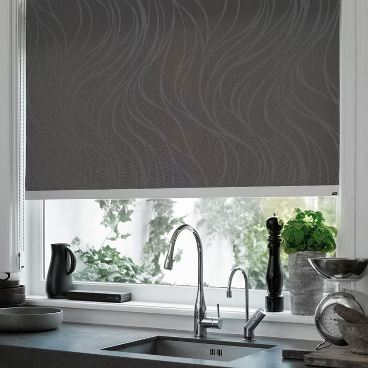 Kitchen Roller Blind with an abstract design and a tactile textured look. #black #roller blind #luxaflex