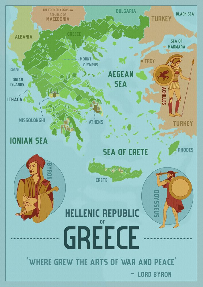abidaker:Today is the 25th March, Greek Independence Day, which marks the start of the War of Greek Independence in 1821. So I thought it an appropriate time to post this map of Greece I made in around 2011, which contains a quote of Lord Byron's. Byron was a significant character in the Greek struggle for independence and died from a fever contracted whilst in Missolonghi fighting against the Ottoman Empire. He has been revered in Greece as a national hero since his death.