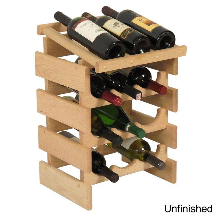 12-bottle Stackable Wood Dakota Wine Rack with Display Top (Unfinished), Brown Oak