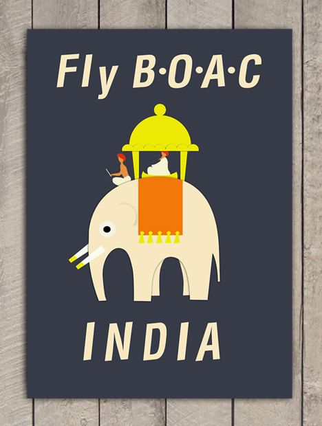 Vintage poster Fly BOAC INDIA - (A3) 11.6 in x 16.4 in